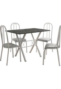 Conjunto De Mesa Miami 4 Cadeiras Branco/Vegetale Fabone Móveis Tubulares