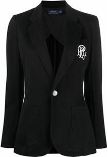 Polo Ralph Lauren Blazer Com Abotoamento Simples E Logo Bordado - Preto