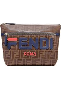 Fendi Clutch Double F Com Logo - Marrom