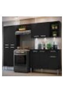 Cozinha Completa Compacta C/ 3 Leds, Armário E Balcão C/ Tampo 4 Pçs Xangai Multimóveis Preta