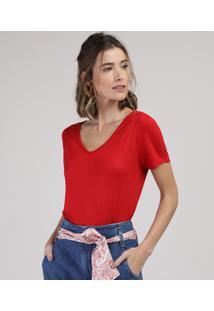 Blusa Feminina Básica Manga Curta Decote V Vermelha