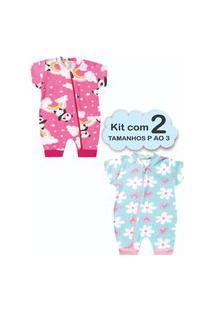 Roupa Bebê 2 Macacáo Menina P Ao 3 Enxoval Recém Nascido Multicolorido