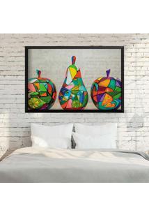 Quadro Love Decor Com Moldura Frutas Em Pop Art Preto Grande