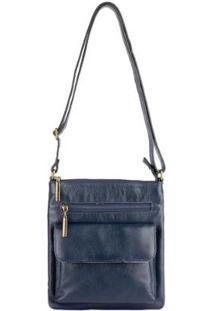 Bolsa Pequena Transversal De Couro Alana - Feminino-Azul