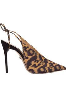 Scarpin Slingback Leopard E Zebra Caramel Multiy Schutz - Marrom