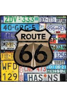 """Placa Decorativa """"Route 66""""- Preta & Bege- 25X25Cm"""