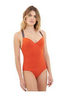 Body Rosa Chá Audrey Elásticos 1 Beachwear Laranja Feminino Body Audrey Elasticos 1-Pureed Pumpkin-M