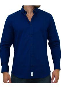 Camisa Kevingston Rouen Est Manga Longa Azul Social