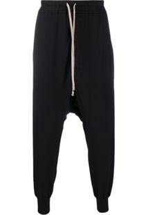 Rick Owens Drkshdw Drop-Crotch Drawstring Trousers - Preto