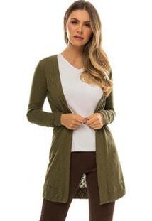 Cardigan Tricot Rovitex Feminino - Feminino-Verde