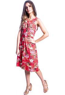 Vestido Carbella Decote Gota Floral Vermelho