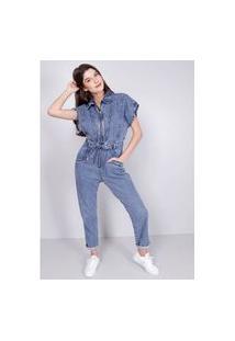 Macacão Jeans Utilitário Blue Médio Gang Feminino