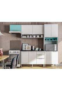 Cozinha Compacta 9 Portas Essence Branco/Acqua - Aroma