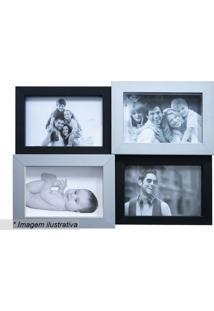 Painel Para 4 Fotos- Preto & Cinza Claro- 27X35,5X3Ckapos