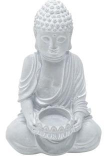 Castiçal Sitting Buddah- Cinza- 20,5X12,5X10,5Cmurban