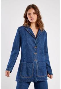 Blazer Jeans Vintage Sacada Feminino - Feminino-Azul