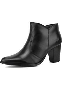 Bota Ankle Boot Em Couro Salto Grosso Sapatofran Preta - Kanui