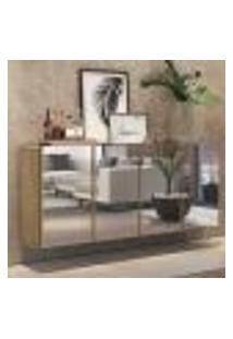 Aparador Buffet 4 Portas C/ Espelho Suspenso Vegas Multimóveis Rustic