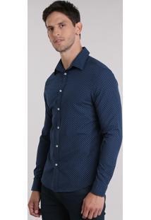 Camisa Slim Estampada Azul Marinho