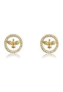 Brinco Divino Espírito Santo Banhado A Ouro Com Zirconias Lys Lazuli Feminino - Feminino-Dourado