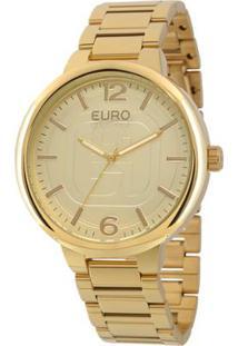 R  224,91. Netshoes Relógio Feminino Dourado Textura U2 Clássico Fashion  Basico Eu2036lyt 4d - Euro 0113fef2bf