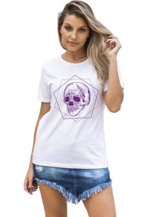 Camiseta Feminina Joss Poligono Roxo Branco