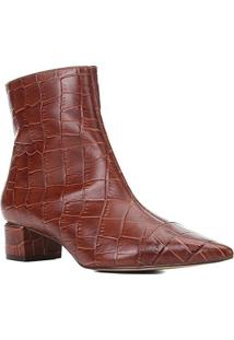 Bota Couro Shoestock Cano Curto Bico Fino Croco Feminina - Feminino-Tabaco