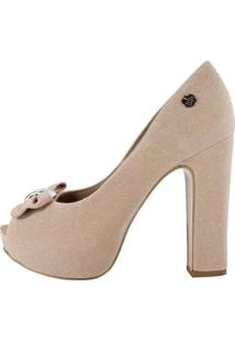 07063a669 ... Peep Toe Week Shoes Salto Alto Com Laço Nude Micro Strass