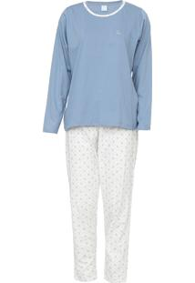 Pijama Pzama Floral Azul/Off-White