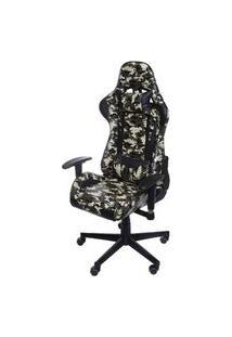 Cadeira Office Gamer Fun Em Courissimo Estampa Camuflada Com Base Nylon - 52109 Camuflado