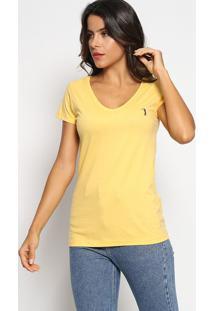 Camiseta Com Bordado - Amarela & Azul Marinhoaleatory
