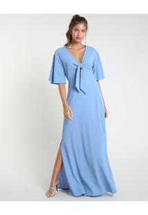 Vestido Feminino Mindset Longo Com Nó Manga Curta Azul Claro