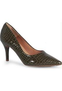 Sapato Scarpin Feno Animal Skin Verde Verde