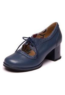 Sapato Azul Com Salto Grosso - Petroleo / Passiflora - 5867