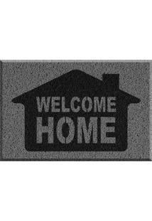 Capacho De Vinil Welcome Home Cinza Único Love Decor
