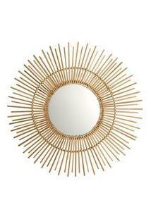 Espelho Redondo Em Bambu Bege 60X60 Cm - D'Rossi