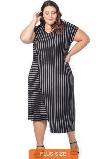 Vestido Feminino Assimétrico De Listras Preto