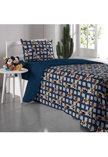 Edredom Solteiro Mickey Mescla - Portallar - Azul Marinho