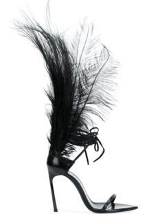 Saint Laurent Sandália 'Iris 105' De Couro - Preto