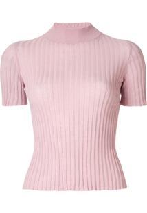 Nanushka Blusa De Tricô Canelado - Rosa