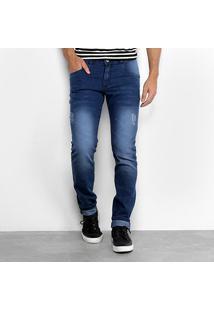 Calça Jeans Coffee Skinny Estonada Puídos Masculina - Masculino