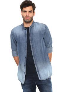 Camisa Jeans Replay Reta Estonada Azul