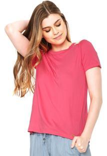 Camiseta Polo Wear Recorte Rosa
