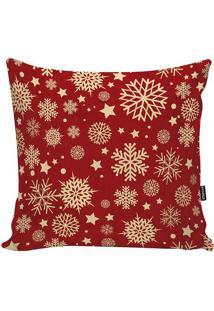 Capa Para Almofada Xmas Winter- Vermelho Escuro & Bege