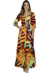 Vestido Mamorena Longo Estampado Com Manga Franzida Multicolorido