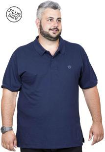 ... Camiseta Polo Plus Size Bigshirts Lisa - Azul Marinho 0ed5a04901d