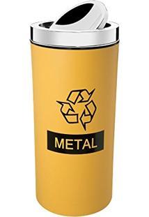 LixeiraSeletiva Amarela Para Metal 9L Com Tampa 3102004 Brinox