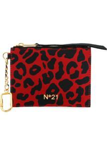 Nº21 Carteira Com Estampa Leopardo - Vermelho
