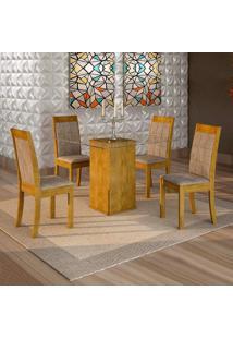 Conjunto De Mesa De Jantar Havana Com 4 Cadeiras Rubi Veludo Ypê