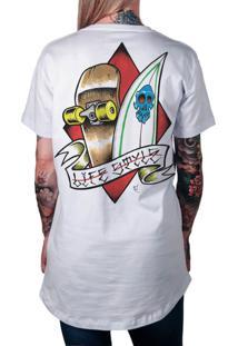 Camiseta Artseries Longline Surf & Skate Life Style Branco